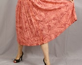 Sale Russian Newsprint Skirt / Full Skirt / Pink and Burgundy / L / Clearance / Going out of Business