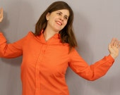 SALE 60s Orange Blouse / Raw Silk Look / L XL