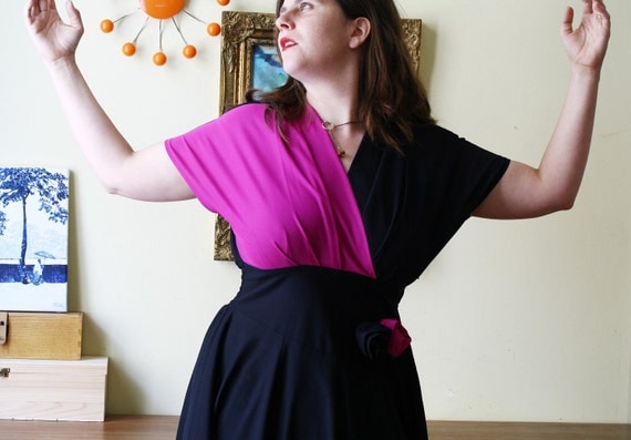 Vintage 1980s Two Toned Dress With Flower Magenta and Black Size L XL