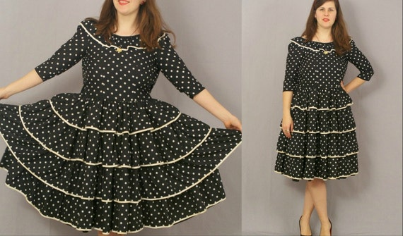 Vintage Flamenco Dress / Ruffled Full Skirt Black with White Polka Dots / M L