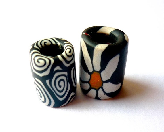 2 Black and White Dreadlock Beads Polymer Clay Bead Daisy Spiral 8mm Hole