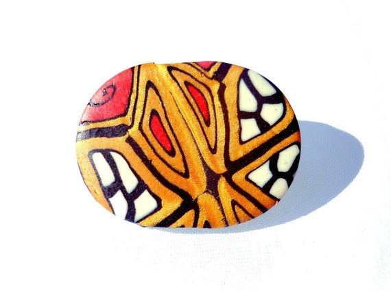 Brooch Badge Button Polymer Clay Gold Red Black and White Design