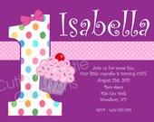Cupcake Birthday Invitation - Printable or Printed - Cupcake 1st Birthday Party Invite - ANY AGE Available - Polka Dot Theme Invitations