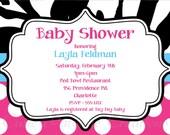 Baby Shower Invitation Hot Pink Polka Dots Zebra Print Printable Digital DiY