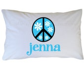 Peace Sign Pillow Case, Peace Sign Pillowcase, Personalized Travel or Standard Size
