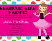 Glamour Girl Birthday Invitation, Spa Party Invitations, Printable or Printed