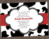 Cow Print Party Invitations Printable or Custom Printed
