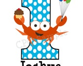Personalized Crab Birthday Number T Shirt or Onesie ANY NUMBER