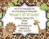 Jungle Monkey Safari Birthday Invitation, Printable or Printed, Jungle Monkey Safari Baby Shower Invitation, Jungle Monkey Safari Invite