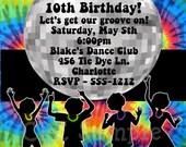 Tie Dye 70's Disco Dance Party Birthday Invitation - Printable or Printed - 80's 90's Disco Ball Birthday Invitations - Personalized