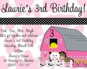 Pink Farm Birthday Invitation Girls Barnyard Farm Birthday Party Invitations Printable Matching Decorations Available
