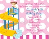 Pool Party Birthday Invitation Printable or Printed