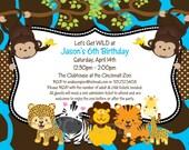 Jungle Birthday Invitation, Safari Baby Shower Invitations, Printable or Printed