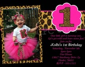Hot Pink Leopard 1st Birthday Invitation, USE for ANY AGE, Printable or Printed