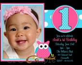 Pink Owl Birthday Invitation Pink Owl Birthday Party Invitation Printable