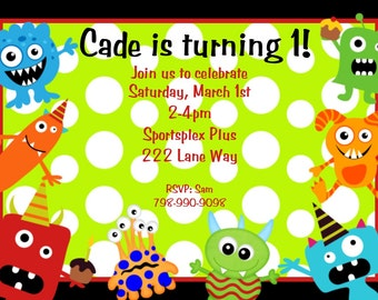 Little Monster Birthday Invitation Monster Birthday Party Invitations Printable Digital Boys or Girls