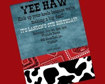 Western Birthday Invitation Cowboy Cowgirl Invitations Printable or Printed