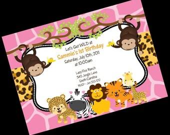 Jungle Safari Birthday Invitation - Printable Party Invite