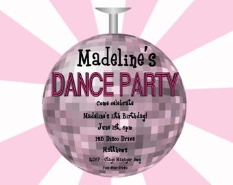 Disco Dance Party Birthday Invitation - Printable or Printed - Party Supplies - Party Decorations