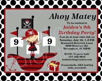 Pirate Birthday Invitation - Girl Pirate Party - Printable or Printed