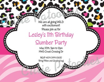 Leopard Zebra Print Invitation - Birthday - Baby or Bridal Shower - Printable or Printed