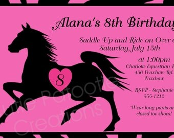 Black Stallion Horse Birthday Party Invitation - Printable or Printed - Horse Party Supplies - Party Decorations