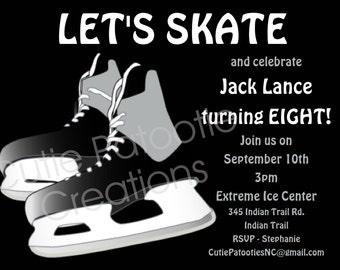 Boys Ice Hockey Birthday Invitation, Printable Invite