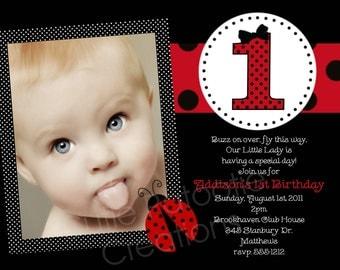 Ladybug Birthday Invitation - 1st Birthday Ladybug Birthday Party Invitations - Printable or Printed
