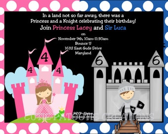 Princess Knight Birthday Invitation - Party for Twins or Siblings - Princess Knight Invitations - Printable or Printed
