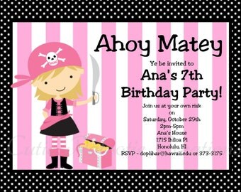 Pirate Birthday Invitation, Girl Pink Pirate Party Invitations, Printable or Printed