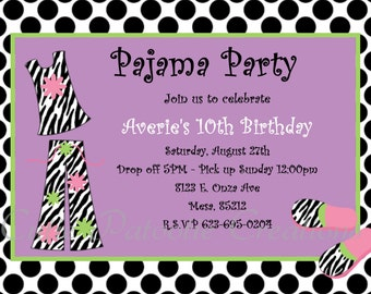 Pajama Party Birthday Invitation - Printable or Printed - Sleepover Birthday Invitations - PJ Party Invitation