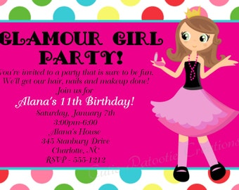 Glamour Girl Birthday Invitation - Printable or Printed - Fashion Show Hair Nails Makeup Birthday Party Invitations