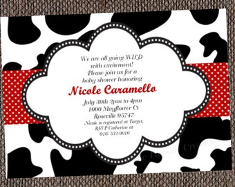 Cow Print Birthday Invitation - Printable or Printed - Cow Print Baby Shower Invitation - Cow Print Party Supplies, Party Decorations