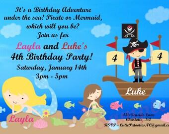 Mermaid Pirate Birthday Invitation - Printable or Printed - Mermaid Pirate Birthday Party Invite - Boy Girl Twins or Siblings