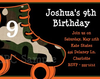 Boys Rollerskating Birthday Party Invitations - Printable or Printed, Rollerskate Party Supplies, Rollerskate Party Decorations