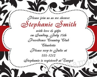 Black and White Damask Invitation - Baby Shower - Birthday Party - Bridal Shower -  Printable or Printed