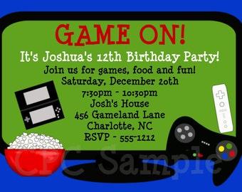 Video Game Birthday Invitation - Printable Party Invite