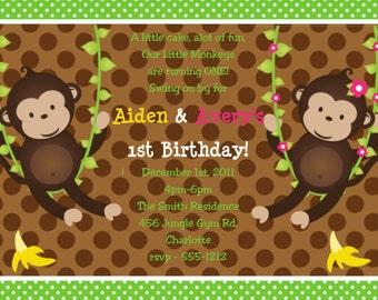 Twin Monkey Birthday Invitation Twins Siblings Monkeys Birthday Party Invitation Printable Printed