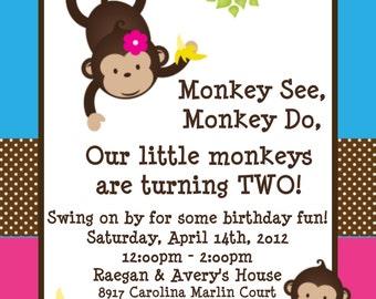 Twins Monkey Birthday Invitations, Printable Party Invite