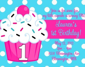 Cupcake 1st Birthday Party Invitations