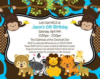Jungle Birthday Invitation, Safari Baby Shower Invitations, Printable or Printed