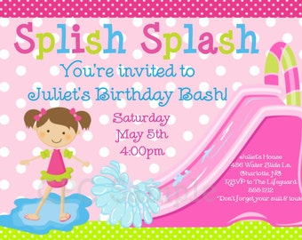 Pool Party Invitation - Water Slide Birthday Invitation - Printable or Printed