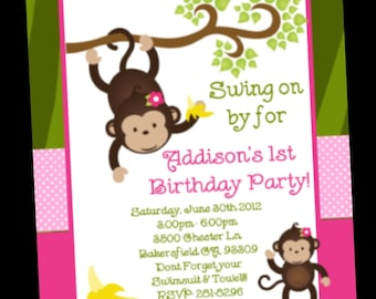 Monkey Birthday Invitation, Twins or Sibling Monkey Party Invitations, Printable or Printed