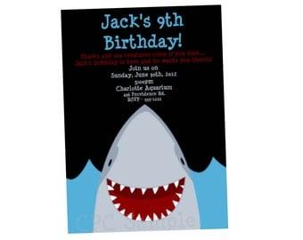 Shark Birthday Invitation, Shark Party Invitations, Printable or Printed