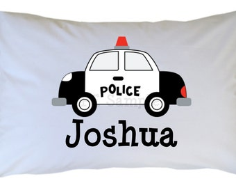 Police Car Pillow Case Black and White Personalized PillowCase Boy Girl Standard or Travel Size