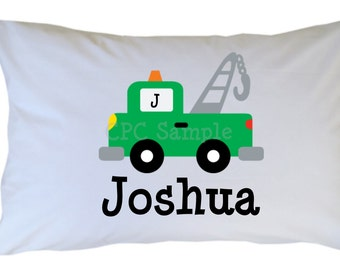 Tow Truck Crane Pillow Case Greem Personalized PillowCase Boy Girl Standard or Travel Size
