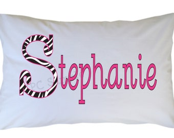 Personalized Name Initial Pillow Case Leopard Zebra Print Standard or Travel Size Available