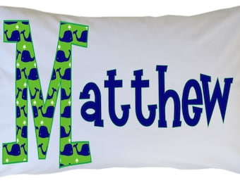 Personalized Name Initial Pillow Case Preppy Whale Standard or Travel Size Available