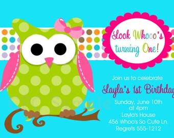 Owl Birthday Invitations, Printable or Printed Invite