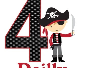 Pirate Birthday T Shirt or Bodysuit Personalized